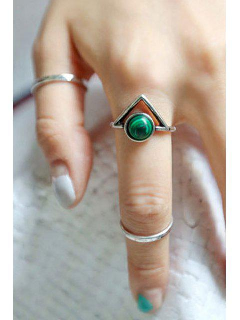 women's Bead Hollow Triangle Arrow Rings - SILVER  Mobile