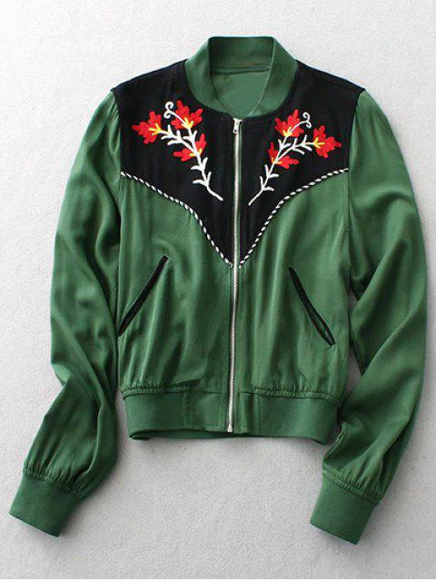 affordable Floral Embroidery Long Sleeve Stand Neck Jacket - GREEN M Mobile