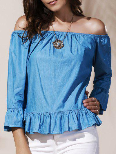 Off Shoulder Ruffle Peplum Blouse - Azure S