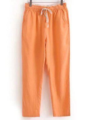Drawstring Casual Pockets Solid Color Pants - Orangepink Xl