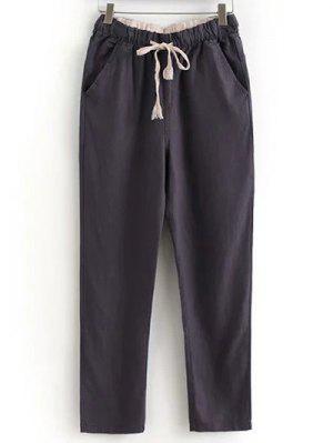 Coulissée Poches Pantalons Simple De Couleur Unie - Chocolat Xl