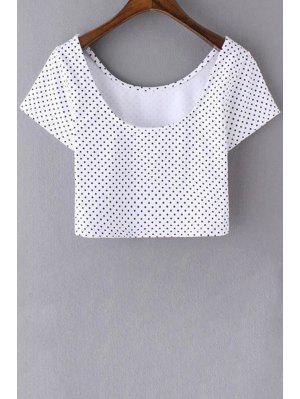 De Lunares Con Cuello Redondo De Manga Corta Recortada De La Camiseta - Blanco S