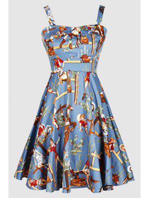 Printed Vintage Spaghetti Straps Ball Gown Dress - Light Blue M