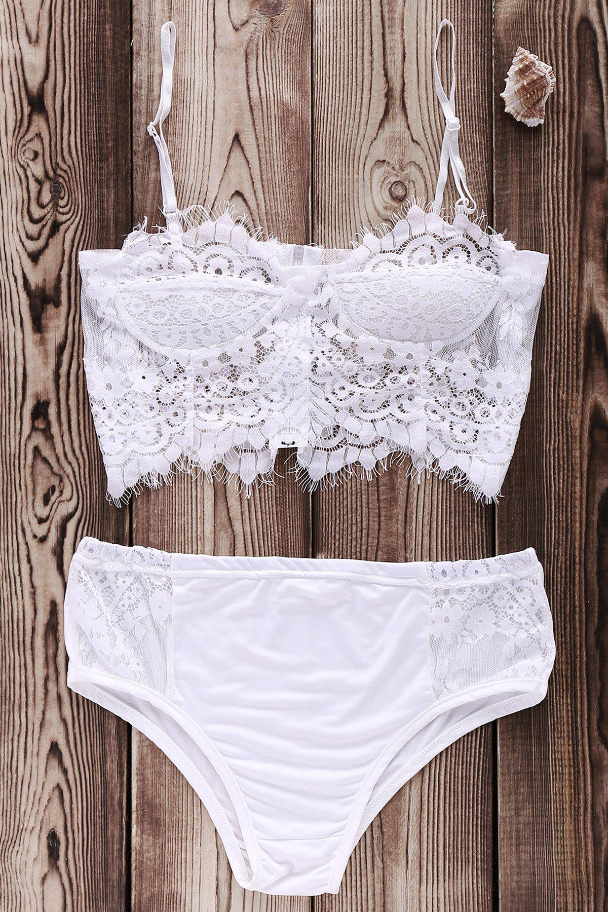 Cami White Lace Splicing Bikini Set 176203102