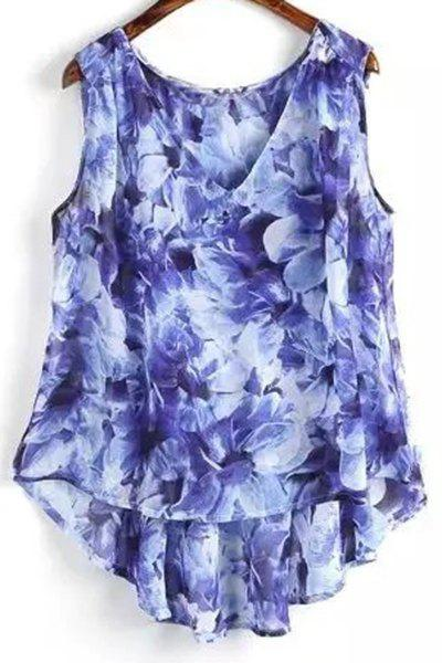 Flower Print V Neck High Low Tank Top 179940203