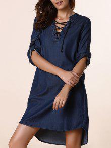 Lace Up Denim Tunic Dress - Deep Blue Xl