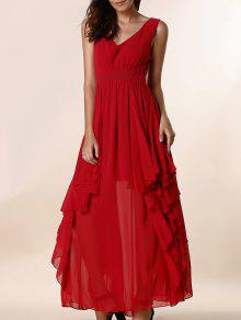 Ruffles Plunging Neck Formal Maxi Dress - Red Xl