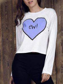 Heart Print Round Neck Long Sleeve T-Shirt - White S