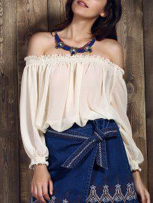 Cold Shoulder Peasant Top - White L