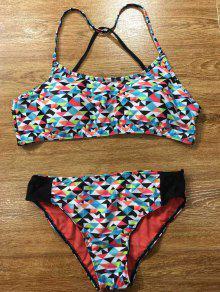 Élégant Colorful Geometric Splicing Ensemble Bikini Pour Les Femmes - S
