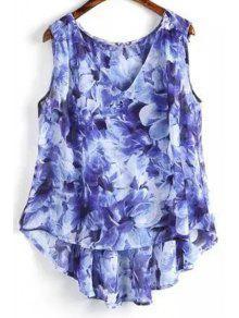 Flower Print V Neck High Low Tank Top - Blue S