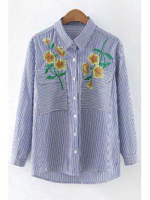 Camisa Bordada De Rayas - Azul Y Blanco L