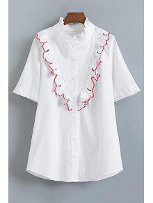 Camisa De Manga Corta Fibrosa Selvedge - Blanco S
