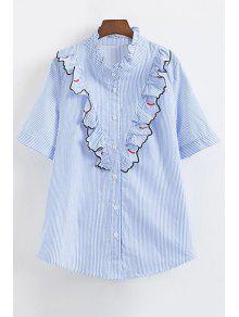 Motif Rayé Cils Ruffle Shirt - Bleu S