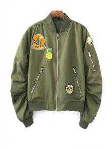 Patch Design Stand Neck Long Sleeve Jacket - Army Green M