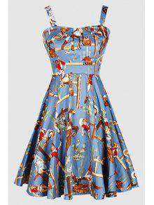 Printed Vintage Spaghetti Straps Ball Gown Dress - Light Blue M