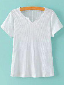 Ribbed Solid Color T-Shirt - White M