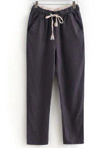 Drawstring Casual Pockets Solid Color Pants - Chocolate Xl