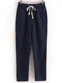 Buy Drawstring Casual Pockets Solid Color Pants - DEEP BLUE XL