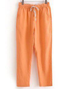 Con Cordón Bolsillos Pantalones Ocasionales Del Color Sólido - Naranja Rosa Xl