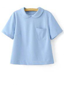 Solid Color Peter Pan Collar Short Sleeve Pocket T-Shirt - Light Blue M