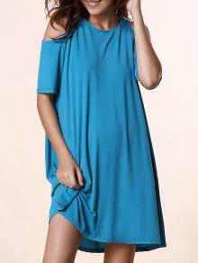 Solid Color Round Neck Short Sleeve Cold Shoulder Dress - Lake Blue L