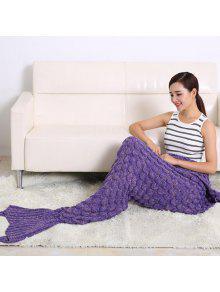الأسماك تصميم مقياس الحياكة كيس النوم حورية البحر بطانية - أرجواني