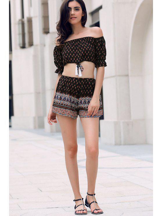 affordable Floral Off Shoulder Crop Top and Shorts - BLACK S
