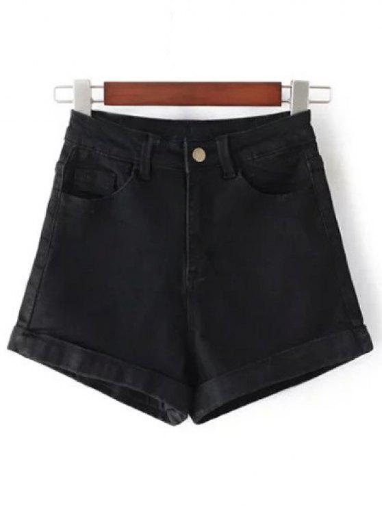 Pantaloncini In Denim A Vita Alta - Nero 28