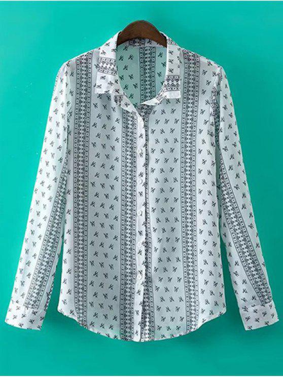 fashion Printed Long Sleeve Shirt Collar Shirt - WHITE L