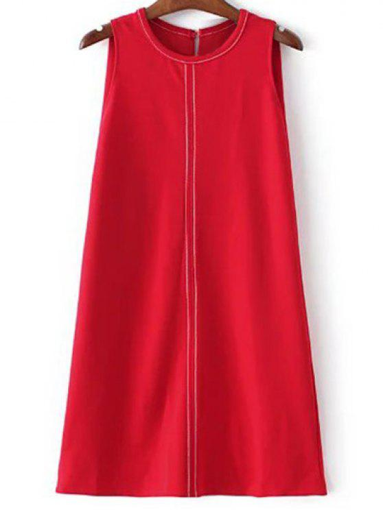 lady Sleeveless A-Line Dress - RED S