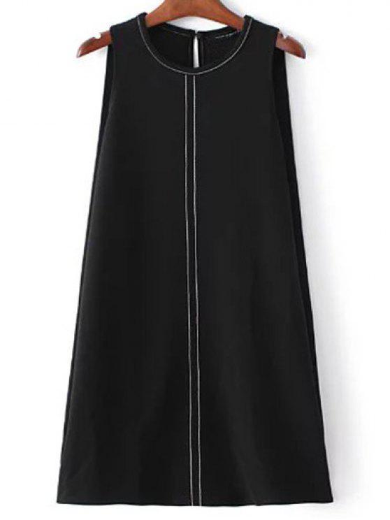 online Sleeveless A-Line Dress - BLACK M