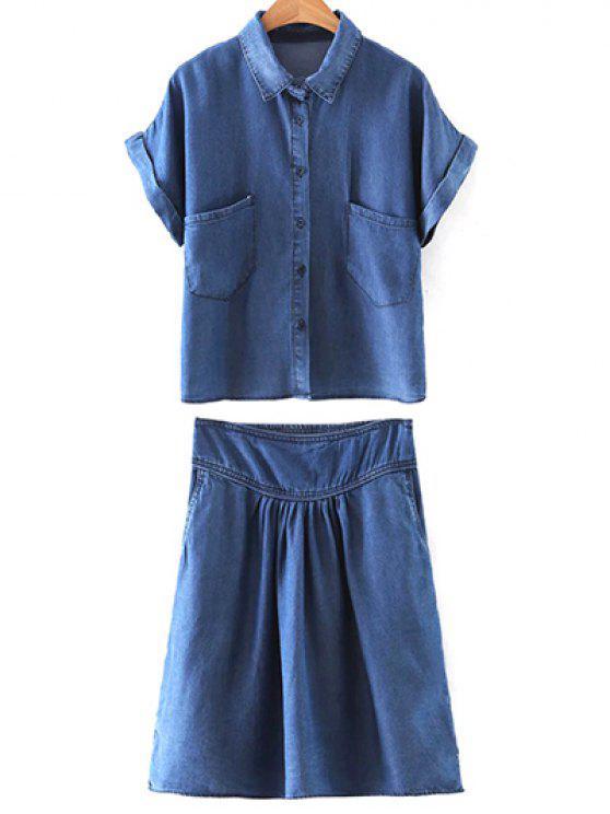 trendy Pockets Shirt Collar Short Sleeve T-Shirt and Folded High Waist A-Line Denim Skirt - BLUE M