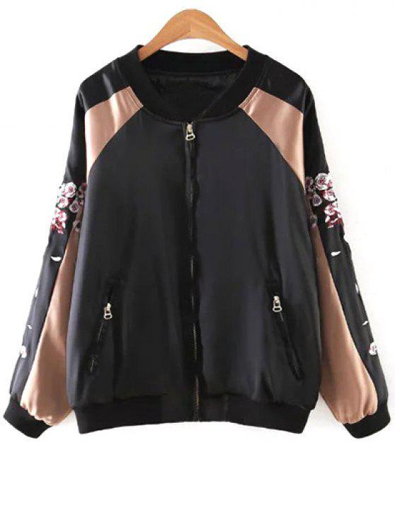 Ciervos del bordado del soporte de la chaqueta de cuello de manga larga - Negro S