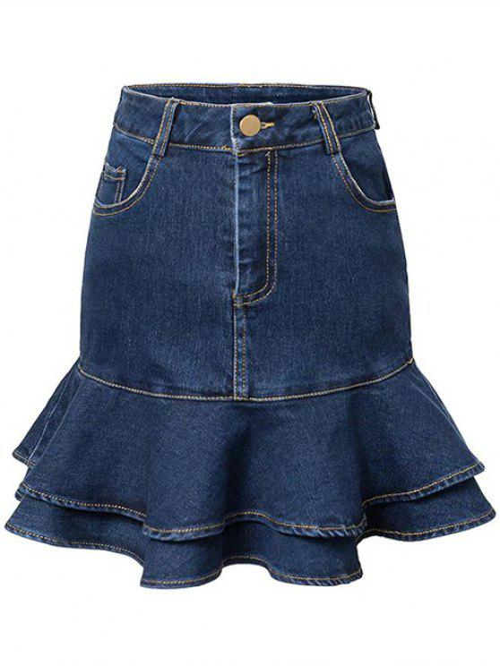 shops Contrast-Stitch Denim Mermaid Skirt - BLUE XL