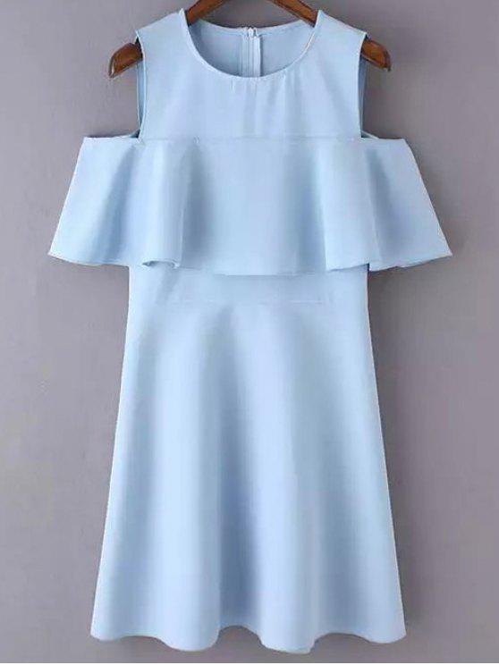 hot Cutout Shoulder Ruffles Sundress - BLUE L