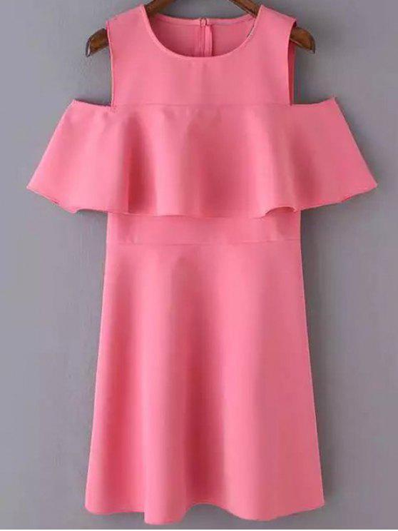 Shoulder recorte Ruffles Vestido de Verão - Rosa de Pêssego S
