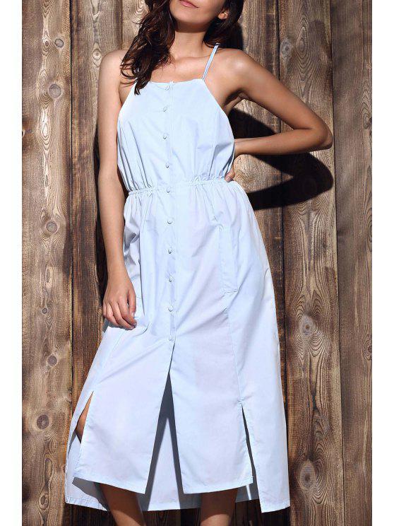 De mayor a menor vestido de correas espaguetis de Hem - Azul Claro XL