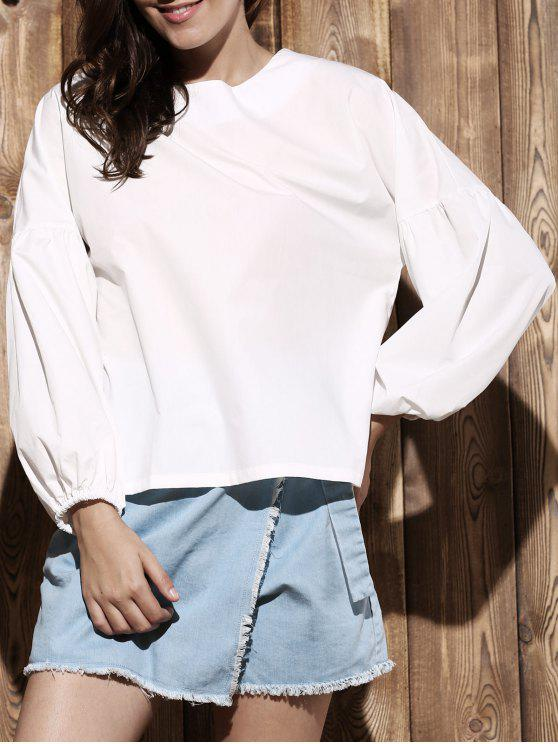 fashion Puff Sleeve Round Collar Solid Color Blouse - WHITE XL