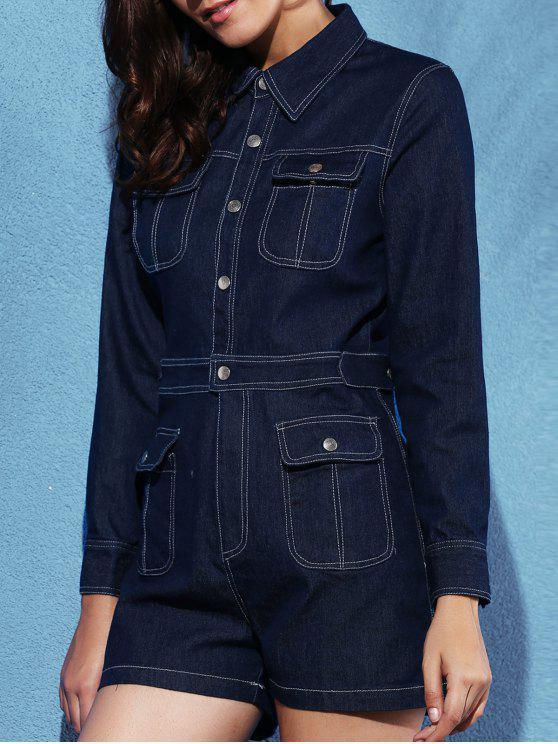 women Blue Denim Playsuit - CADETBLUE XL