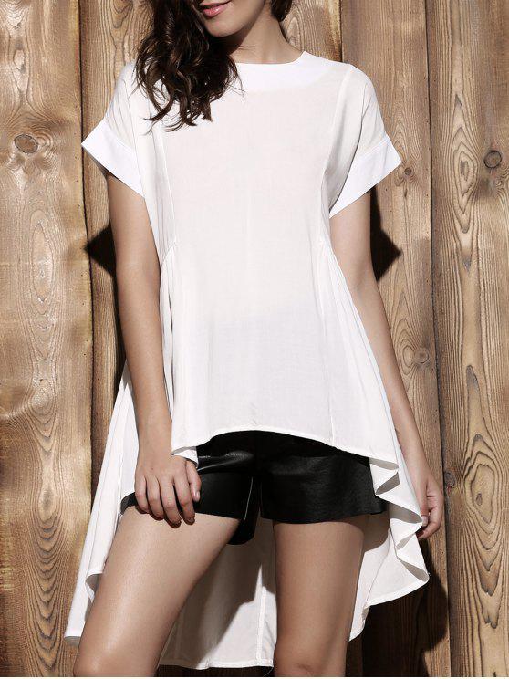 Suelta de mayor a menor cuello redondo manga corta de la blusa - Blanco M