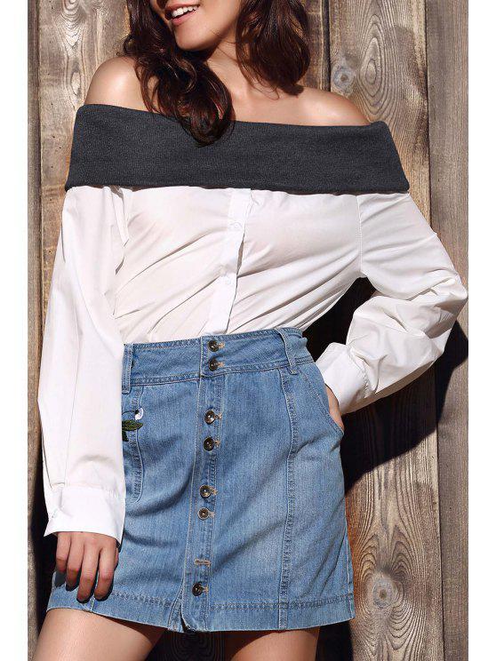 Hit suelta de manga larga en color de la camisa del hombro - Blanco S