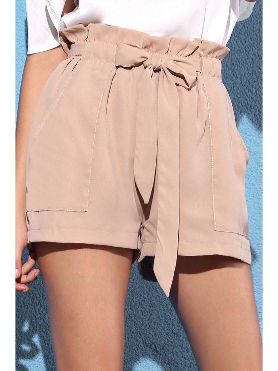new Pocket and Bowknot Design Chiffon Shorts - NUDE S