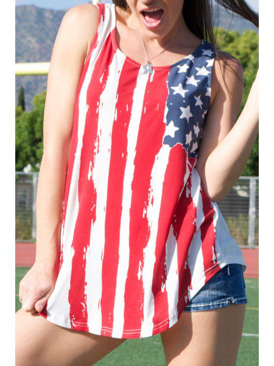 affordable American Flag Print Patriotic Scoop Tank Top - RED WITH WHITE S