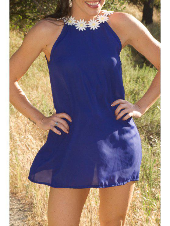 trendy Daisy Strap Low Back Sun Dress - PURPLISH BLUE S
