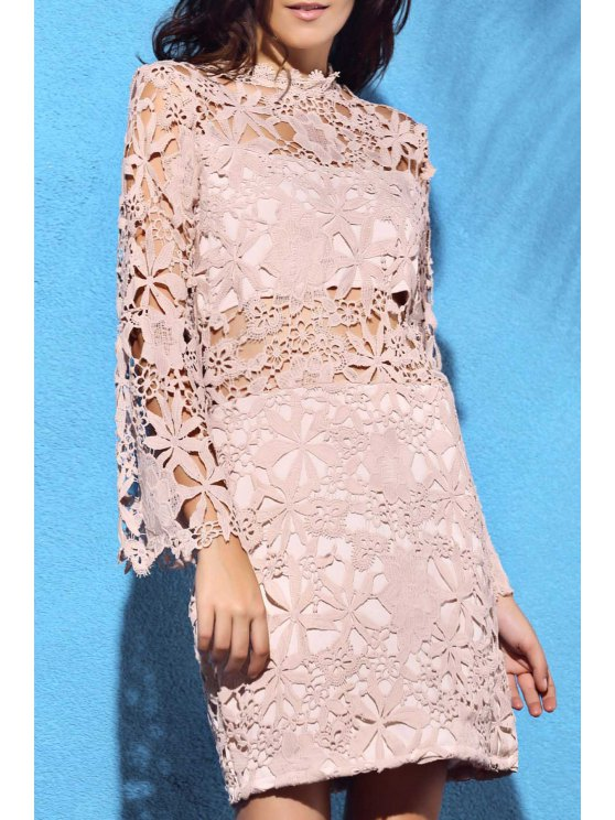 affordable Flare Sleeve Guipure Lace Pink Dress - NUDE XL