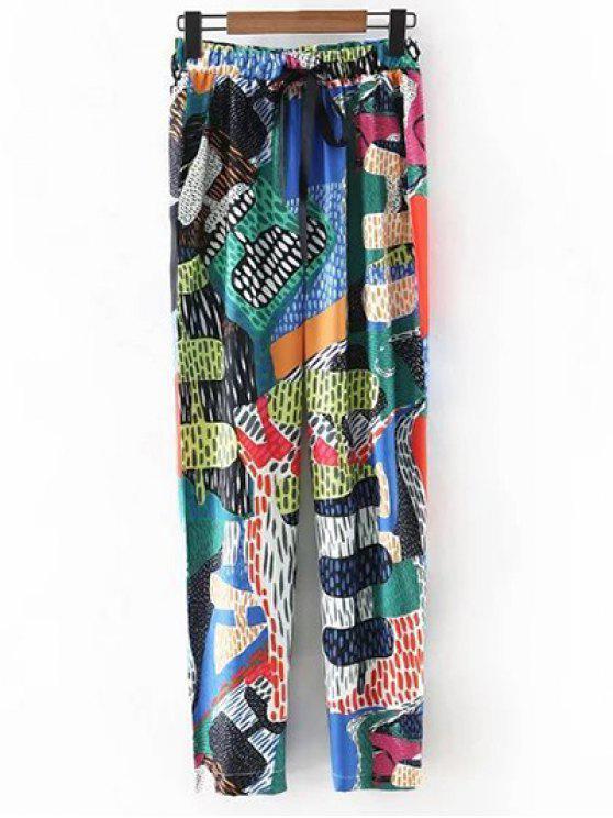 lady Colorful Printed High Waist Narrow Feet Pants - GREEN S