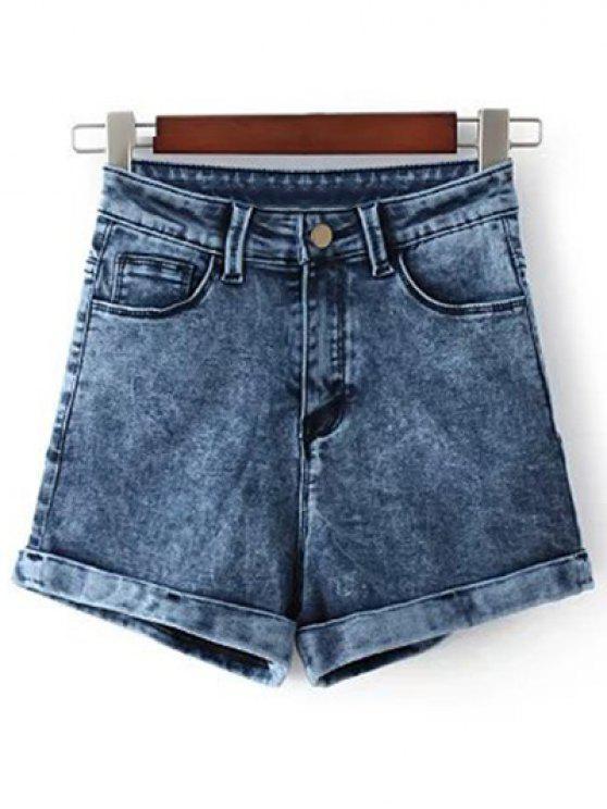 fancy Snow Wash Denim Shorts - BLUE 25