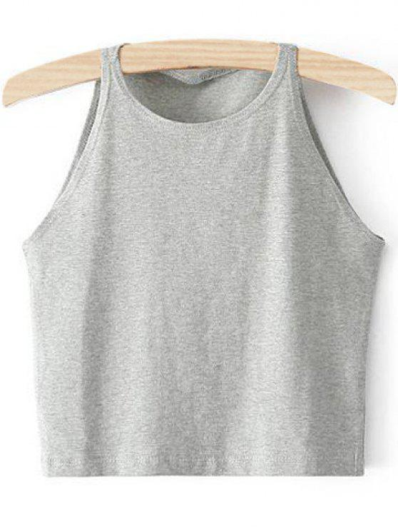 0ec1f8d83a4 21% OFF  2019 Cropped Ribbed Tank Top In LIGHT GRAY