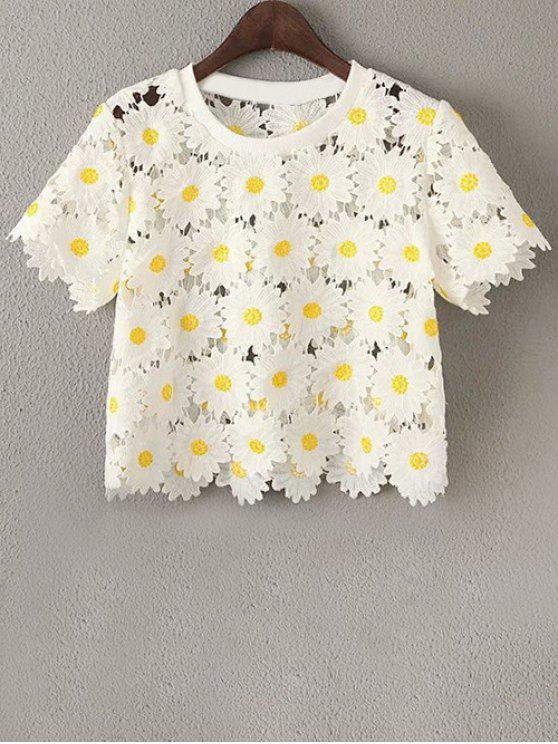 outfit Daisy Pattern Embroidery Round Neck Short Sleeve T-Shirt - WHITE ONE SIZE(FIT SIZE XS TO M)